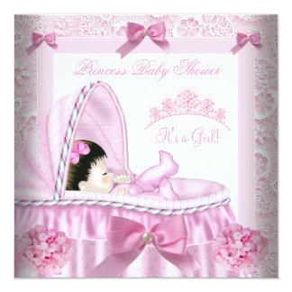 Little Princess Baby Shower Girl Pink Damask 13 Cm X 13 Cm Square Invitation Card