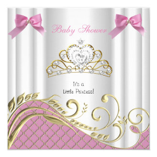 Little Princess Baby Shower Girl Pink White Gold 3 13 Cm X 13 Cm Square Invitation Card
