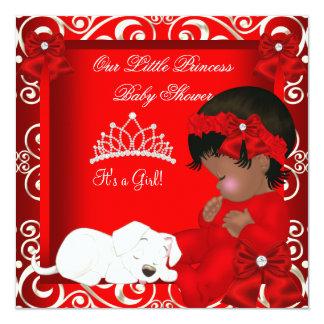 Little Princess Baby Shower Girl Red Damask 13 Cm X 13 Cm Square Invitation Card