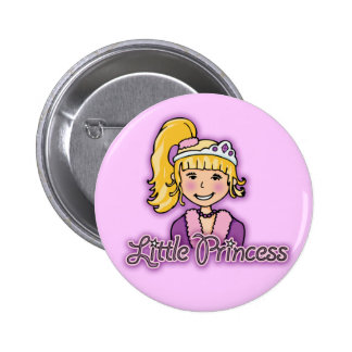 Little Princess blonde hair girl lilac button