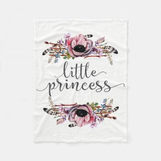 Little Princess | Boho Chic Floral Frame Baby Girl Fleece Blanket