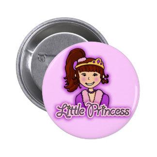 """Little Princess"" dark hair girl lilac button 6 Cm Round Badge"