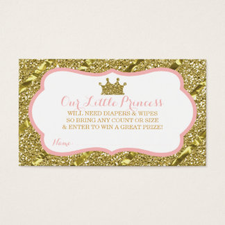 Little Princess Diaper Raffle Ticket, Faux Glitter Business Card