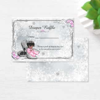 Little Princess Diaper Raffle Tickets, grey frozen Business Card