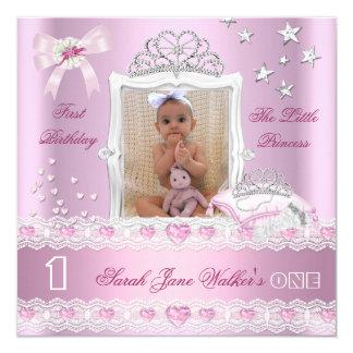 Little Princess First Birthday Party Photo 13 Cm X 13 Cm Square Invitation Card