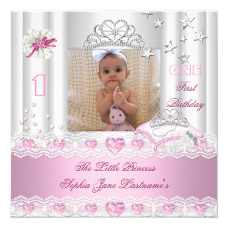 Little Princess First Birthday Party Photo 13 Cm X 13 Cm Square Invitation Card