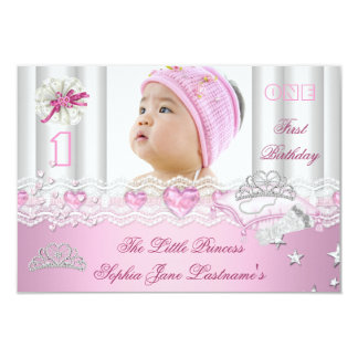 Little Princess First Birthday Party Photo 9 Cm X 13 Cm Invitation Card