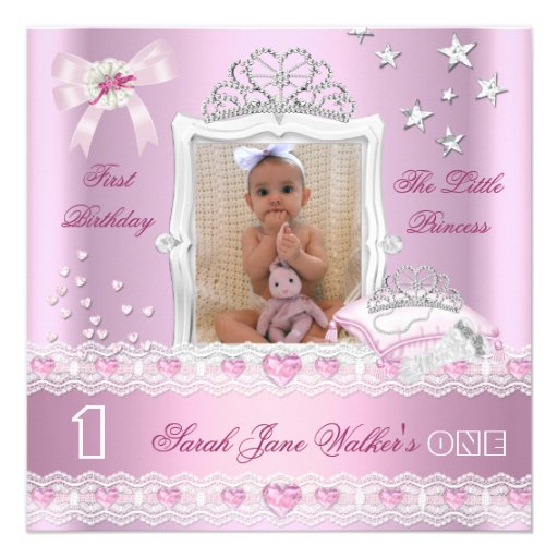Little Princess First Birthday Party Photo Announcement