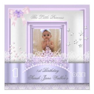 Little Princess First Birthday Party Photo Purple 13 Cm X 13 Cm Square Invitation Card