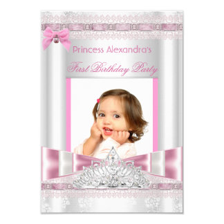 Little Princess Girl First Birthday Party Photo 9 Cm X 13 Cm Invitation Card