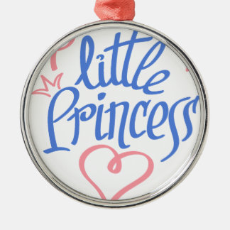 little princess heart design Silver-Colored round decoration