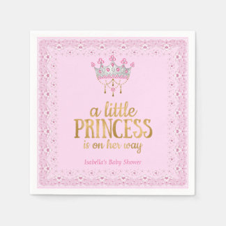 Little Princess on her way Pink Gold Tiara Party Disposable Napkins