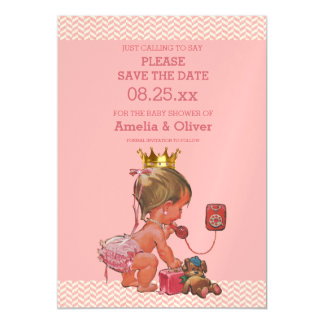 Little Princess on Phone Save The Date Chevrons Magnetic Invitations