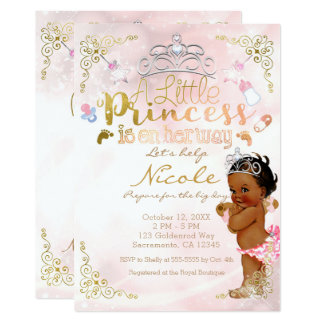 Little Princess Pink Ethnic Dark Baby Girl Shower Card