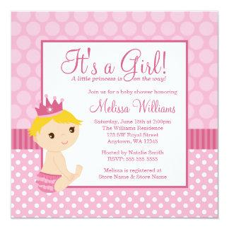 Little Princess Pink Polka Dot Girl Baby Shower 13 Cm X 13 Cm Square Invitation Card