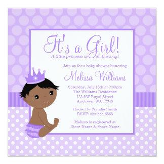 Little Princess Purple Polka Dot Girl Baby Shower 13 Cm X 13 Cm Square Invitation Card