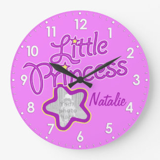 Little princess star photo pink girls wall clock