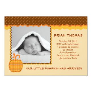 Little Pumpkin Baby Birth Photo Announcement