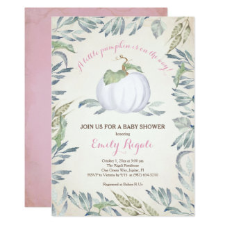 Little Pumpkin Baby Shower Invitation, Pink Card