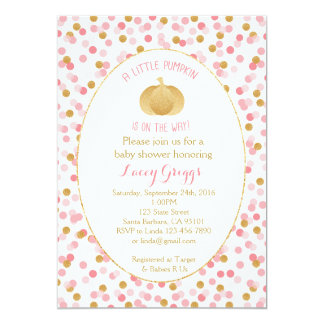 Little Pumpkin Baby Shower Invitation- Pink  Gold Card