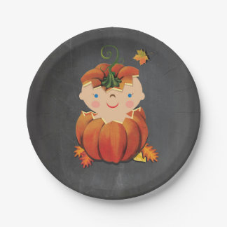 Little Pumpkin Baby Shower Paper Plates
