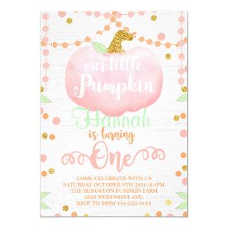 Little pumpkin birthday invitation, fall birthday card