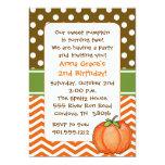 "Little Pumpkin Birthday Invitations 5"" X 7"" Invitation Card"