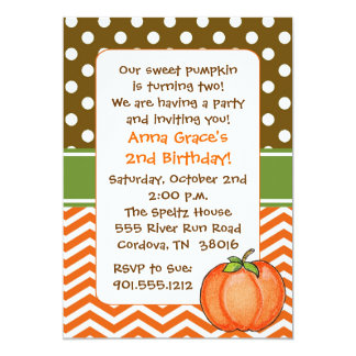 Little Pumpkin Birthday Invitations