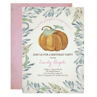 Little Pumpkin BIRTHDAY PARTY Invitation, Girl Card