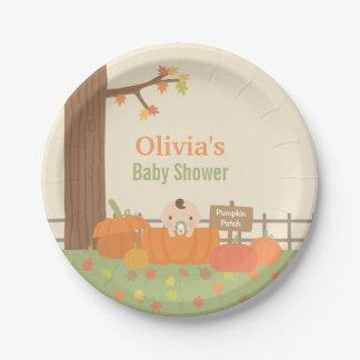 Little Pumpkin Fall Baby Shower Party Plates