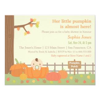 Little Pumpkin Fall Themed Baby Shower Invitations