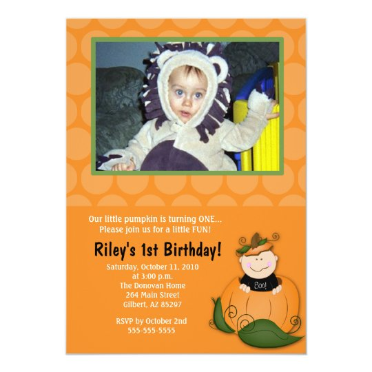 Little Pumpkin Halloween 5x7 Photo Birthday Card