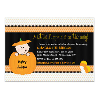 Little Pumpkin Halloween Baby Shower Invitations