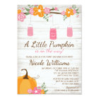 Little Pumpkin Mason Jars Fall Girl Baby Shower Card