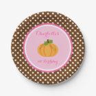 Little Pumpkin Pink Orange Girl Birthday Paper Plate