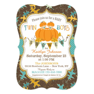 Little Pumpkin Twin Boys Fall Leaves Baby Shower Card