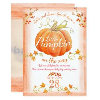 Little pumpkin watercolor pregnancy announcement