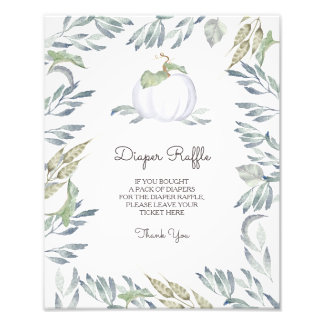 Little Pumpkin White Diaper Raffle Sign