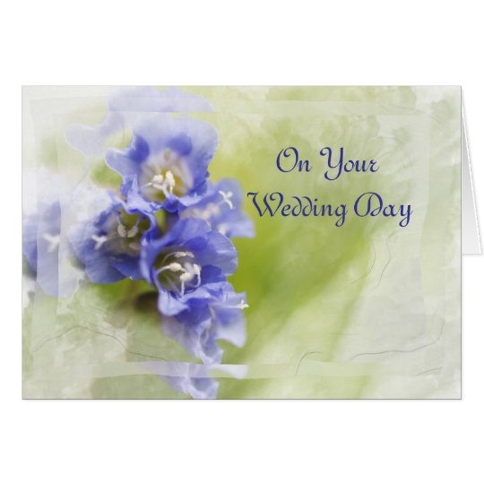 Little Purple Garden Flowers Wedding Day Card