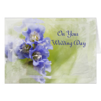 Little Purple Garden Flowers Wedding Day Greeting Card