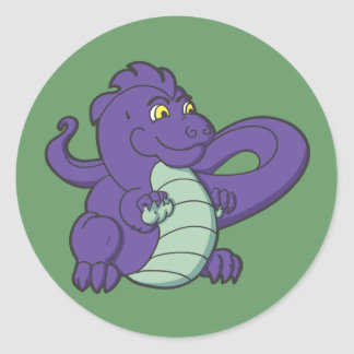 Little Purple Longtailed Dragon Classic Round Sticker
