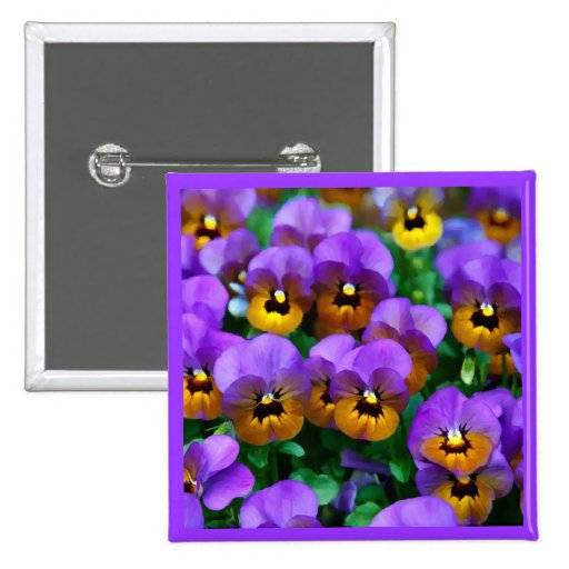 Little Purple Pansies Trimmed in Yellow Gold Pinback Button