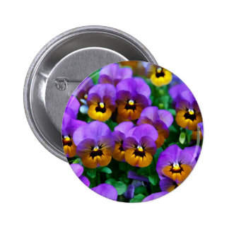 Little Purple Pansies Trimmed in Yellow Gold Pins