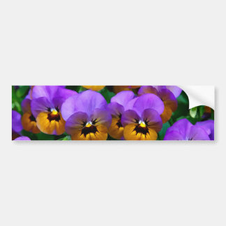Little Purple Pansies Trimmed in Yellow Gold Bumper Sticker