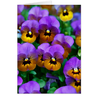Little Purple Pansies Trimmed in Yellow Gold Greeting Card