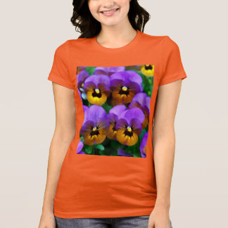 Little Purple Pansies Trimmed in Yellow Gold T-Shirt
