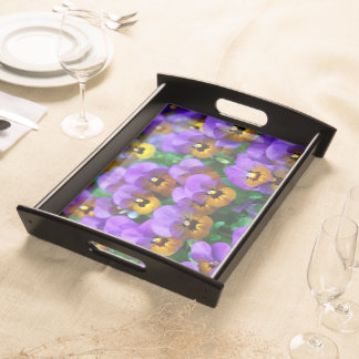 Little Purple Pansies Trimmed in Yellow Gold Serving Platters