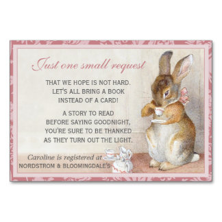 Little Rabbit Baby Shower Book Gift Registry Card