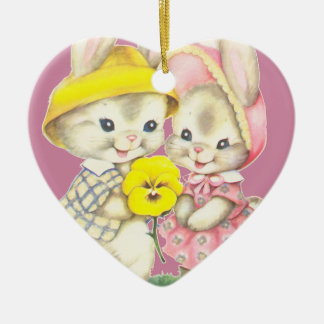 Little rabbits ceramic heart decoration