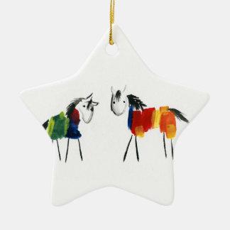 Little Rainbow Ponies Ceramic Ornament